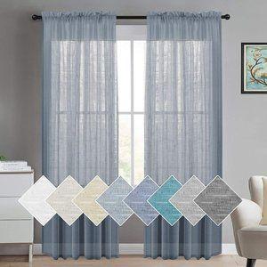 New Natural Linen Semi Sheer Curtains